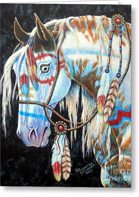 Wild Horses Greeting Cards - Indian War Pony #2 Greeting Card by Amanda  Stewart