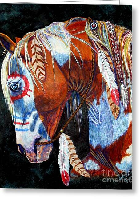 Eagle Feathers Greeting Cards - Indian War Pony Greeting Card by Amanda  Stewart