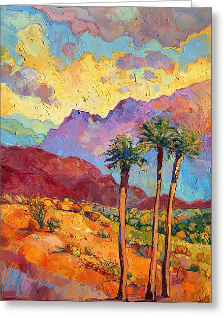 Santa Greeting Cards - Indian Wells Greeting Card by Erin Hanson