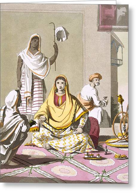 Veiled Drawings Greeting Cards - Indian Woman In Her Finery, With Guests Greeting Card by Franz Balthazar Solvyns