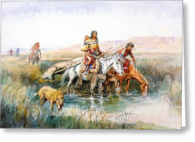 Western Art Greeting Cards - Indian Women Moving Camp Greeting Card by Charles Russell