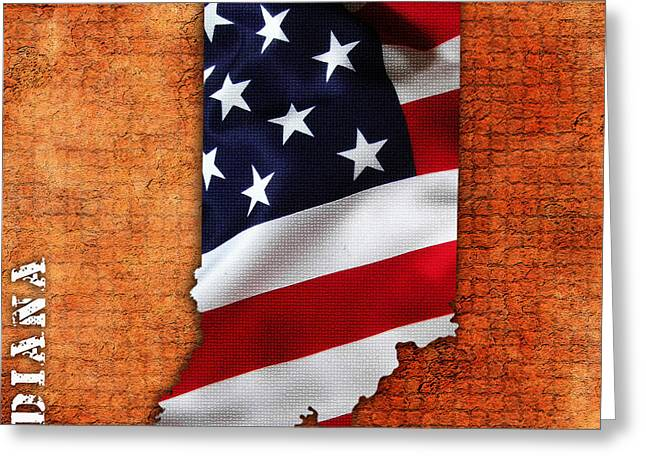 Indiana Mixed Media Greeting Cards - Indiana American Flag State Map Greeting Card by Marvin Blaine