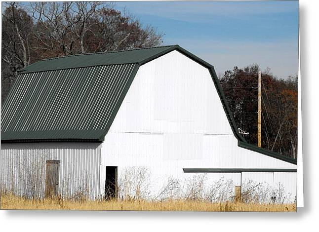 Red Roofed Barn Mixed Media Greeting Cards - Indiana Barn 16 Greeting Card by Nelson Skinner