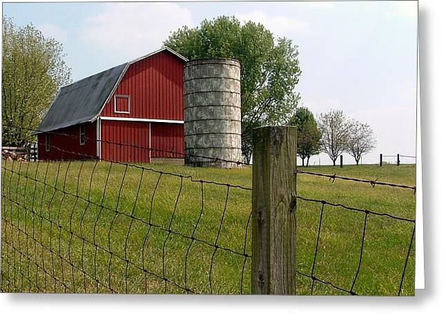 Red Roofed Barn Mixed Media Greeting Cards - Indiana Barn 3 Greeting Card by Nelson Skinner