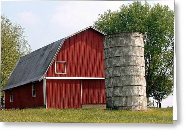 Red Roofed Barn Mixed Media Greeting Cards - Indiana Barn 4 Greeting Card by Nelson Skinner