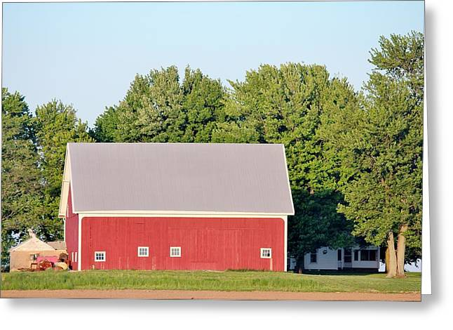 Red Roofed Barn Mixed Media Greeting Cards - Indiana Barn 7 Greeting Card by Nelson Skinner