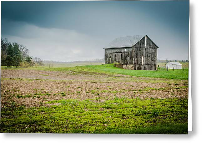 Indiana Farms Greeting Cards - Indiana Barn in the Rain Greeting Card by Anthony Doudt