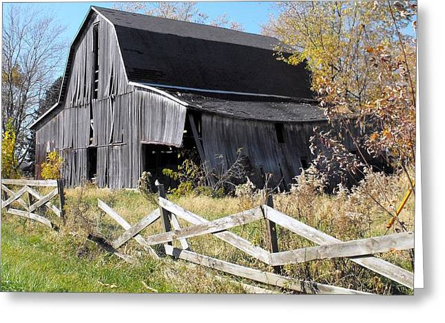 Barn Door Greeting Cards - Indiana Barn Greeting Card by Nelson Skinner
