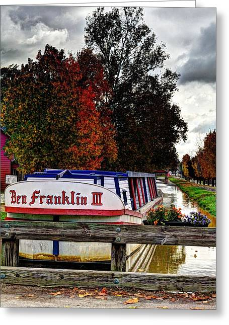 Indiana Autumn Greeting Cards - Indiana Canal Town Greeting Card by Tri State Art