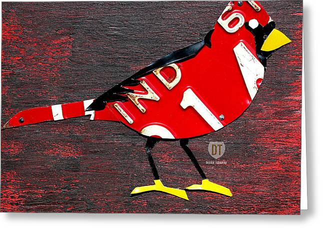 Indiana. Greeting Cards - Indiana Cardinal Bird Recycled Vintage License Plate Art Greeting Card by Design Turnpike