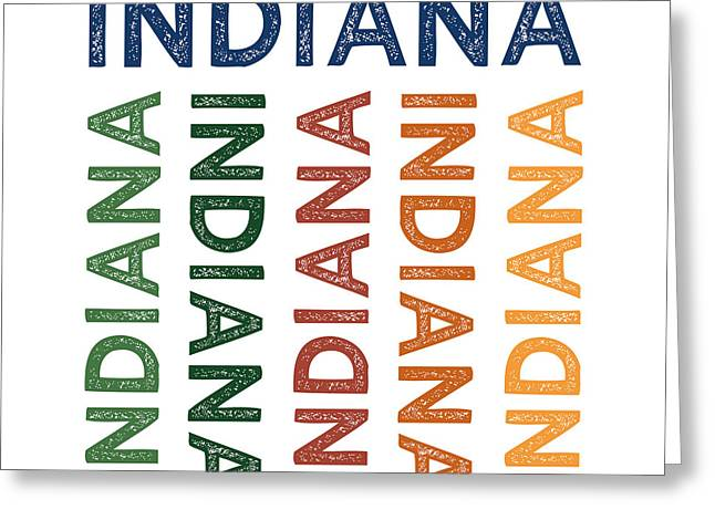 Indiana Cute Colorful Greeting Card by Flo Karp