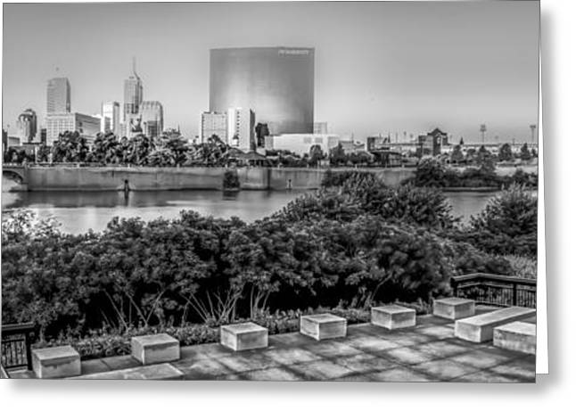 Marriot Greeting Cards - Indiana - Downtown from across White River panoramic Greeting Card by Ron Pate