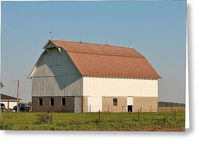 Red Roofed Barn Mixed Media Greeting Cards - Indiana Farm Barn  Greeting Card by Nelson Skinner