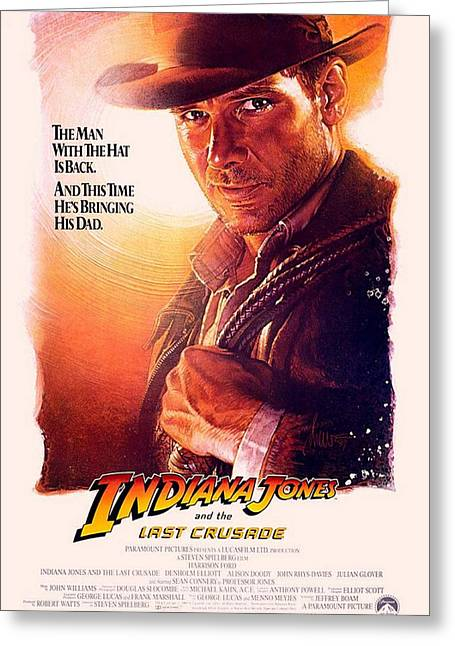 Motion Picture Poster Greeting Cards - Indiana Jones and the Last Crusade  Greeting Card by Movie Poster Prints