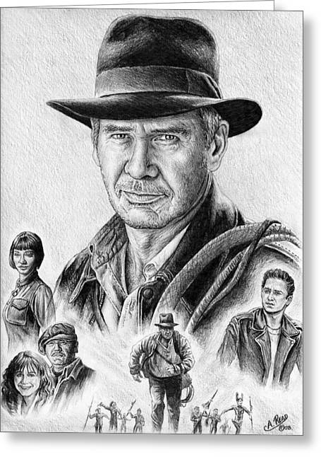 Collage Drawings Greeting Cards - Indiana Jones Greeting Card by Andrew Read