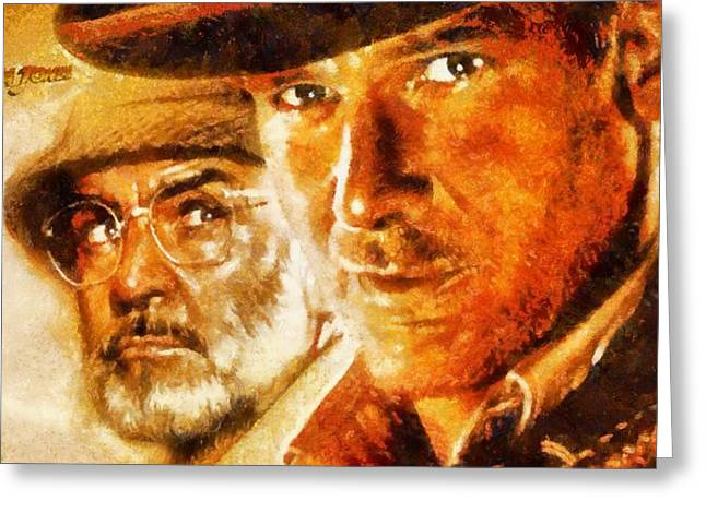 Actions Mixed Media Greeting Cards - Indiana Jones Greeting Card by Dan Sproul