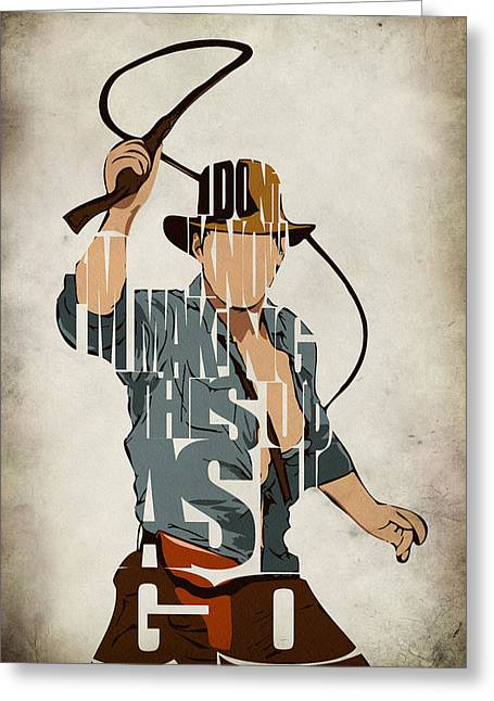 Typography Print Greeting Cards - Indiana Jones - Harrison Ford Greeting Card by Ayse Deniz