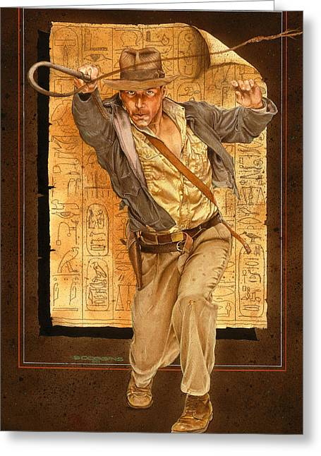 Indiana. Greeting Cards - Indiana Jones Greeting Card by Tim  Scoggins