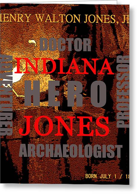 Indiana Art Digital Art Greeting Cards - Indiana Jones word poster A Greeting Card by David Lee Thompson