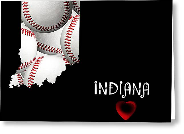 Indiana Photography Greeting Cards - Indiana Loves Baseball Greeting Card by Andee Design