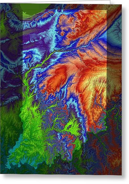 Geology Digital Art Greeting Cards - Indiana Map Art Greeting Card by Paul Hein