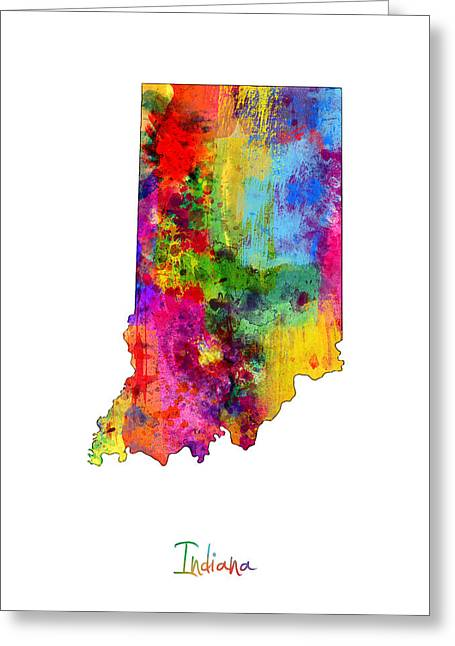 Cartography Digital Art Greeting Cards - Indiana Map Greeting Card by Michael Tompsett