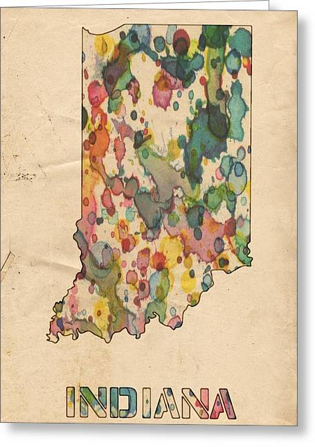 Indiana Art Digital Art Greeting Cards - Indiana Map Vintage Watercolor Greeting Card by Florian Rodarte