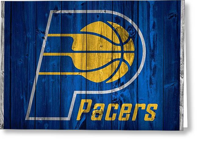 Banker Greeting Cards - Indiana Pacers Barn Door Greeting Card by Dan Sproul