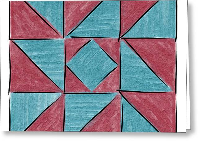 Indiana Puzzle In Blue And Burgundy Greeting Card by Sandy MacGowan