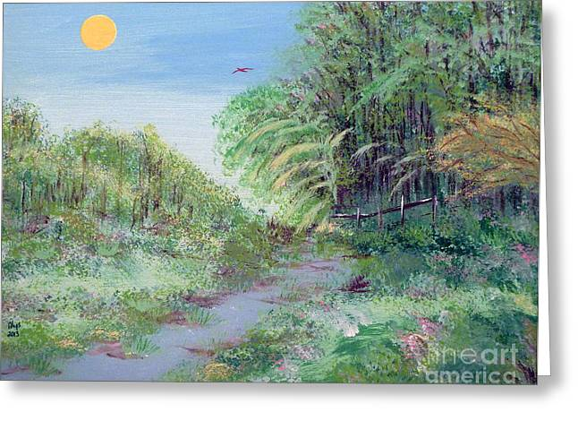 Indiana Springs Paintings Greeting Cards - Indiana Spring Afternoon By The Creek Greeting Card by Alys Caviness-Gober
