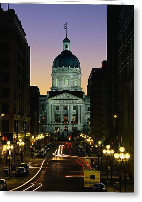 Patriotic Scenes Greeting Cards - Indiana State Capitol Building Greeting Card by Panoramic Images