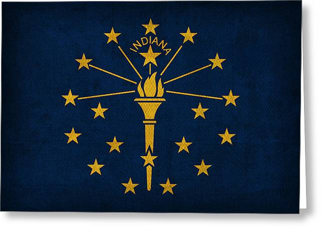 Bloomington Greeting Cards - Indiana State Flag Art on Worn Canvas Greeting Card by Design Turnpike