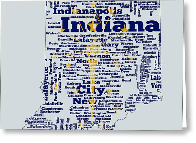 Flag Of Usa Greeting Cards - Indiana State Flag Word Cloud Greeting Card by Brian Reaves