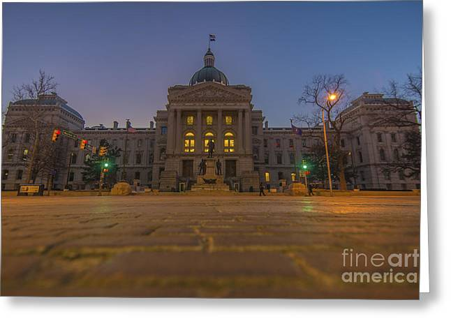 Indiana Art Greeting Cards - Indiana State House Night 2 Greeting Card by David Haskett