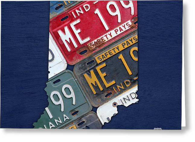 Indiana. Greeting Cards - Indiana State License Plate Map Greeting Card by Design Turnpike