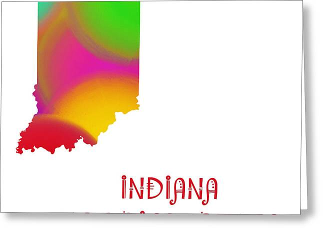 Indiana Photography Greeting Cards - Indiana State Map Collection 2 Greeting Card by Andee Design