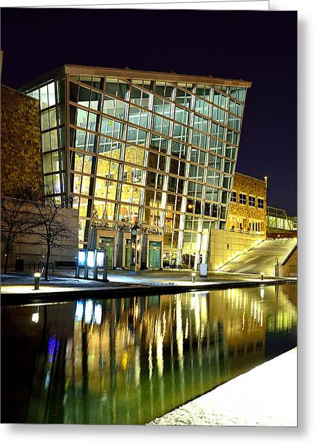 Indiana Winters Greeting Cards - Indiana State Museum Night Lights in Winter Greeting Card by David Haskett