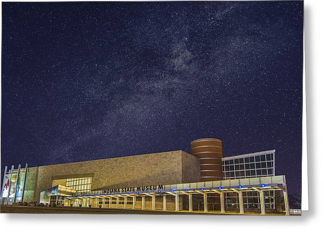 White River Greeting Cards - Indiana State Museum Night Star Play Greeting Card by David Haskett