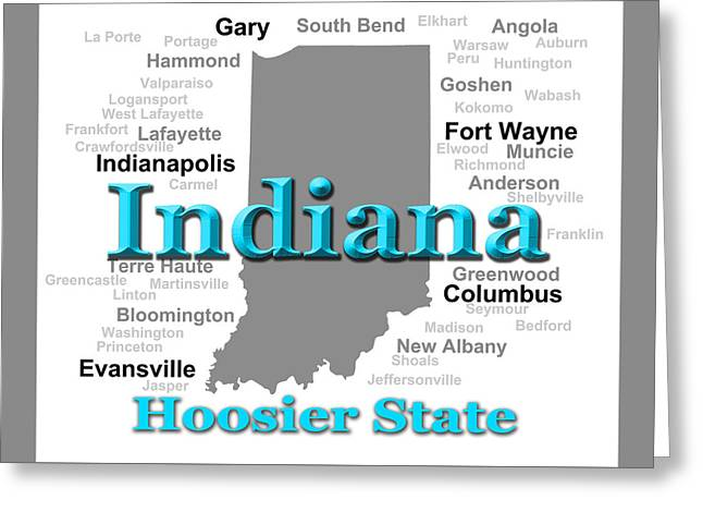 Indiana State Pride Map Silhouette  Greeting Card by Keith Webber Jr