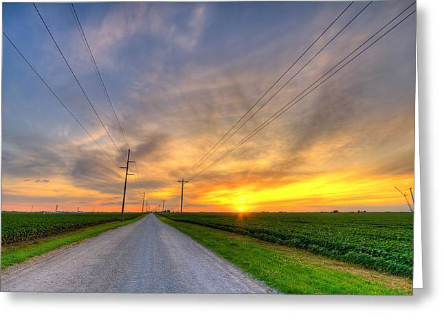 Gravel Road Greeting Cards - Indiana sunset Greeting Card by Alexey Stiop