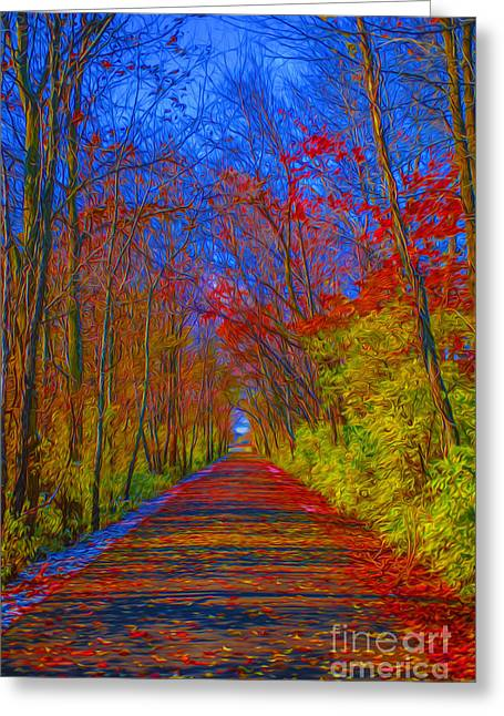 Indiana Autumn Greeting Cards - Indiana Trees Digital OIL Greeting Card by David Haskett