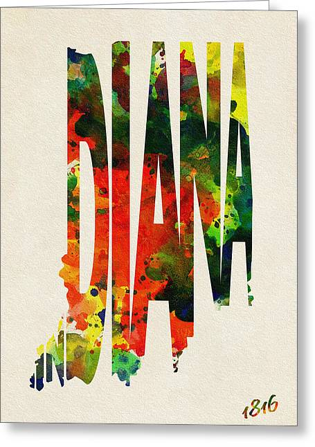 Indiana. Greeting Cards - Indiana Typographic Watercolor Map Greeting Card by Ayse Deniz