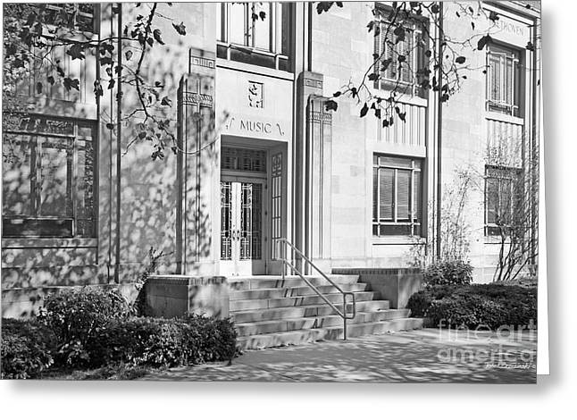 Gi Photographs Greeting Cards - Indiana University Merrill Building Entrance Greeting Card by University Icons