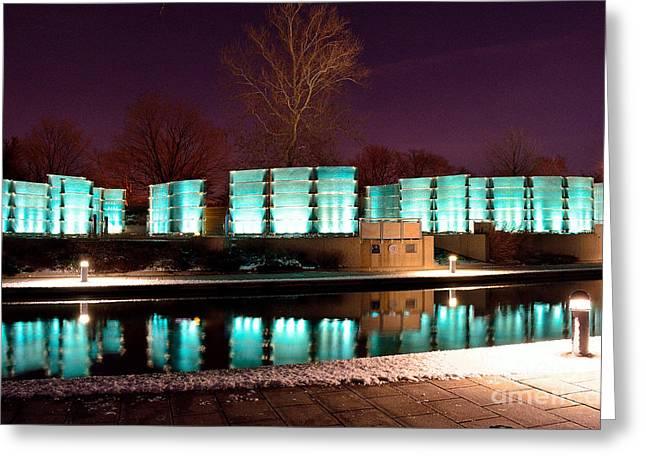 Wwi Greeting Cards - Indiana War Memorial Night Lights Greeting Card by David Haskett