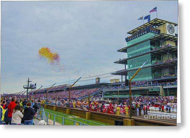 Indy Car Greeting Cards - Indianapolis 500 May 2013 Balloons Race Start Greeting Card by David Haskett