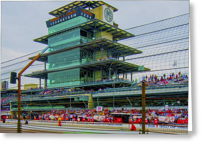 Indy Car Greeting Cards - Indianapolis 500 May 2013 Square Greeting Card by David Haskett