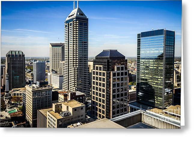 Indiana Photography Greeting Cards - Indianapolis Aerial Picture of Downtown Office Buildings Greeting Card by Paul Velgos