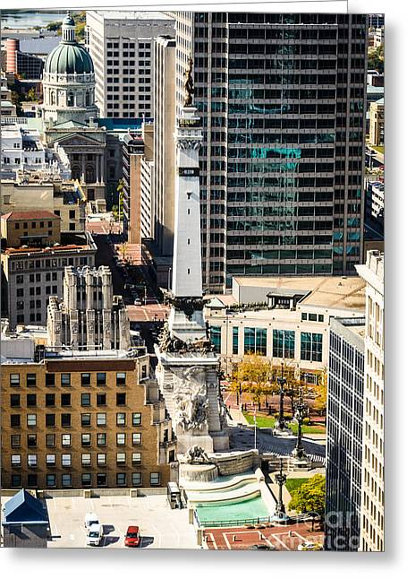 Hoosiers Greeting Cards - Indianapolis Aerial Picture of Monument Circle Greeting Card by Paul Velgos