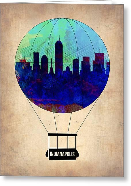 Plane Greeting Cards - Indianapolis Air Balloon Greeting Card by Naxart Studio
