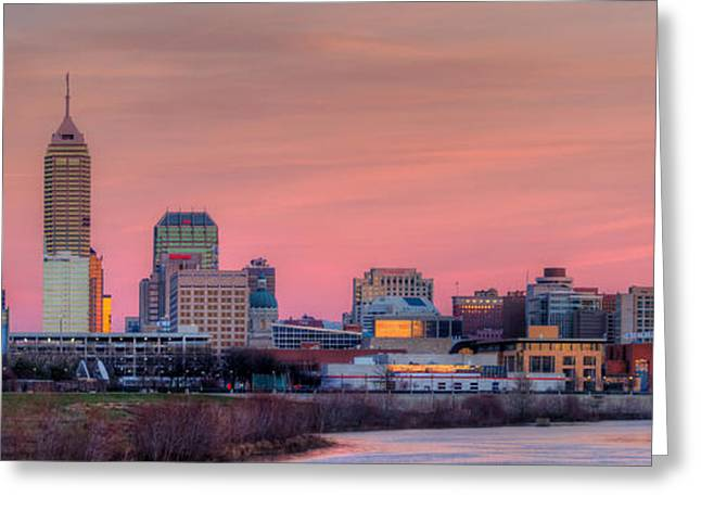 Indiana Christmas Greeting Cards - Indianapolis at Sunset Greeting Card by Twenty Two North Photography